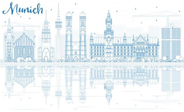 Contorne o horizonte de munique com edifícios azuis e reflexos. ilustração vetorial. viagem de negócios e conceito de turismo com arquitetura histórica. imagem para cartaz de banner de apresentação e site.