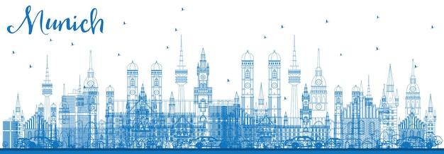 Contorne o horizonte de munique com edifícios azuis. ilustração vetorial. viagem de negócios e conceito de turismo com arquitetura histórica. imagem para cartaz de banner de apresentação e site.