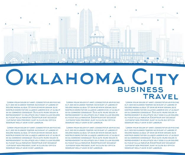 Contorne o horizonte de oklahoma city com edifícios azuis e espaço para cópia