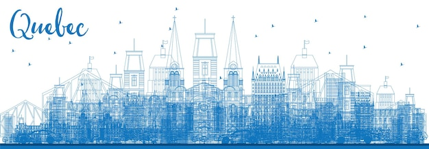 Contorne o horizonte de quebec com edifícios azuis. ilustração vetorial. viagem de negócios e conceito de turismo com arquitetura histórica. imagem para cartaz de banner de apresentação e site.