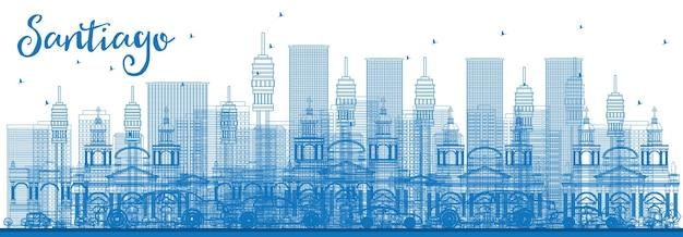 Contorne o horizonte de santiago chile com edifícios azuis. ilustração vetorial. viagem de negócios e conceito de turismo com edifícios modernos. imagem para cartaz de banner de apresentação e site.