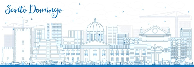 Contorne o horizonte de santo domingo com edifícios azuis. ilustração vetorial. viagem de negócios e conceito de turismo com arquitetura moderna. imagem para cartaz de banner de apresentação e site.