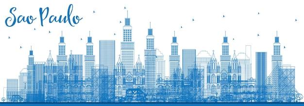 Contorne o horizonte de são paulo com edifícios azuis. ilustração vetorial. viagem de negócios e conceito de turismo com edifícios modernos. imagem para cartaz de banner de apresentação e site.