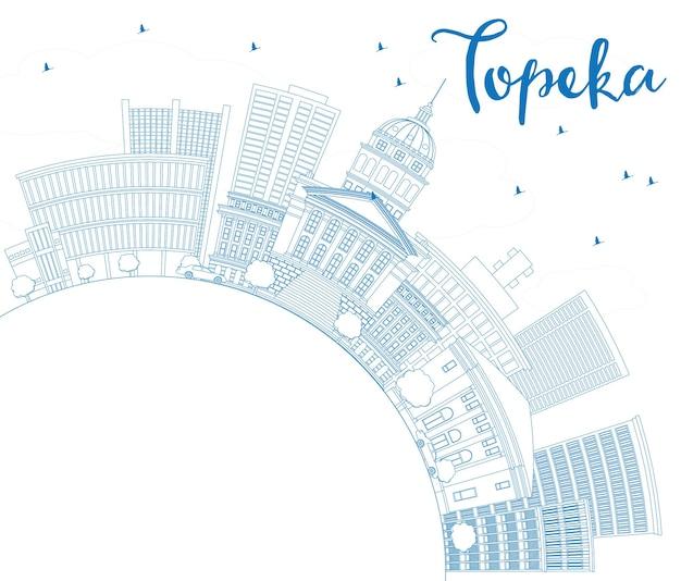 Contorne o horizonte de topeka com edifícios azuis e espaço de cópia. ilustração vetorial. viagem de negócios e conceito de turismo com arquitetura moderna. imagem para cartaz de banner de apresentação e site.