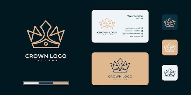 Contorne o logotipo da coroa com design de cartão de visita Vetor Premium
