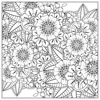 Contorne o padrão de flor quadrada no estilo mehndi para colorir a página do livro doodle ornamento em preto e branco desenho ilustração à mão