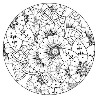 Contorne o padrão de flor redondo no estilo mehndi para colorir a página do livro. ornamento do doodle em preto e branco.