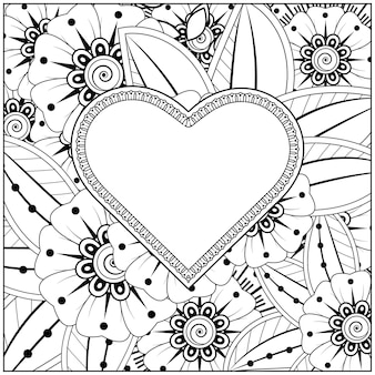 Contorne o quadro floral da forma do coração no estilo mehndi. ornamento de doodle flor mehndi. esboço mão desenhar ilustração. página do livro para colorir.