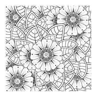 Contorne o teste padrão de flor quadrada no estilo mehndi para colorir o desenho da página do livro.