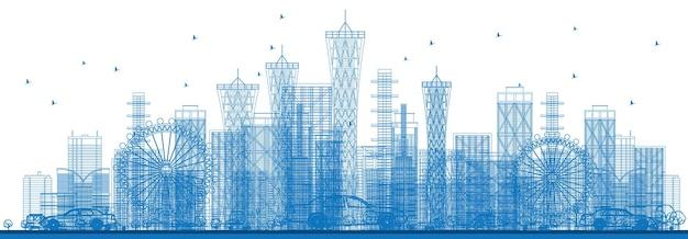 Contorne os arranha-céus da cidade e edifícios na cor azul. ilustração vetorial. viagem de negócios e conceito de turismo. imagem para apresentação, banner, cartaz e site da web