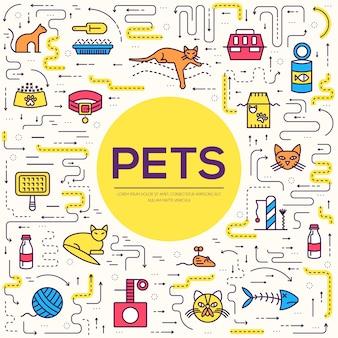 Contorno bonito animal de estimação ilustrações. coleção de capa de layout de gatinho diferente