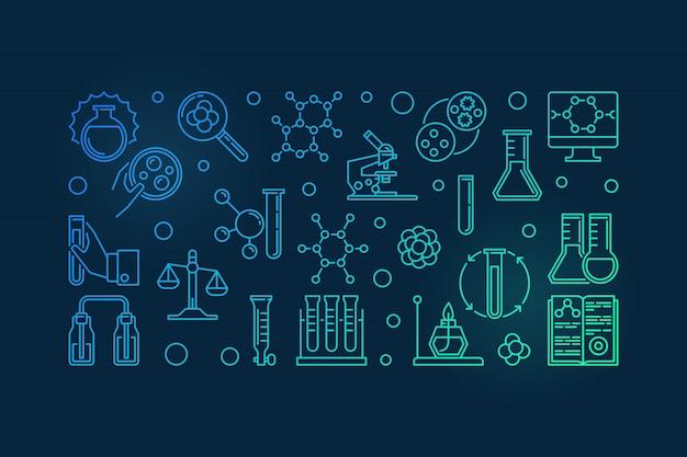 Contorno colorido de equipamento de laboratório de química - vector moderno ilustração de química em fundo escuro