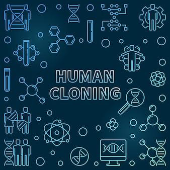 Contorno da clonagem humana azul