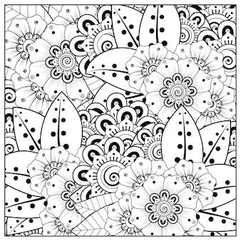 Contorno da flor no estilo mehndi para colorir o ornamento do doodle da página em preto e branco
