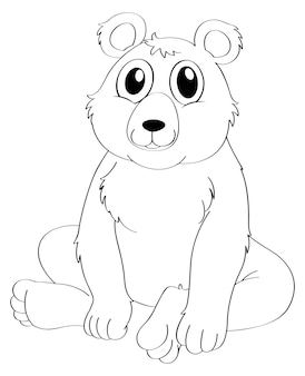 Contorno de animal para urso sentado