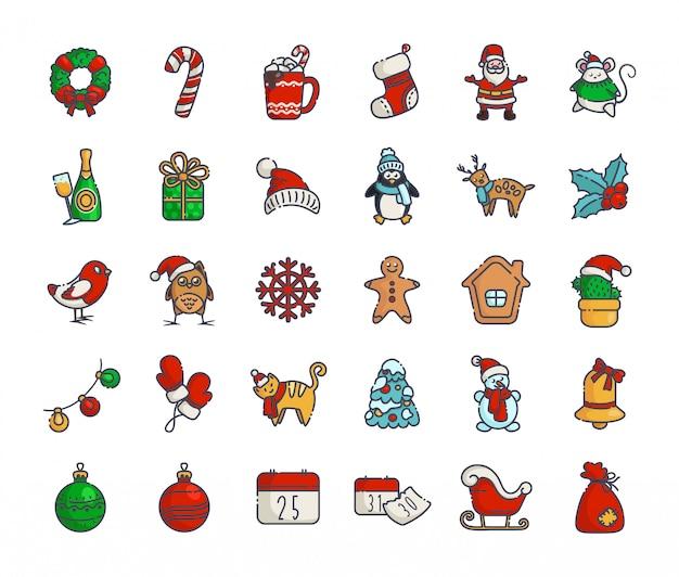 Contorno de ano novo de ícones de natal kawaii papai noel, caixa de presente, árvore de natal, pão de mel