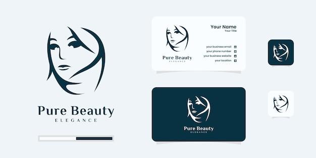 Contorno de arte da linha do ícone do logotipo do salão feminino de beleza. logotipo da mulher ser usar massagem, spa, design de logotipo do salão de beleza.