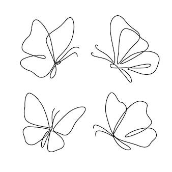 Contorno de borboleta com coleção de detalhes desenhados