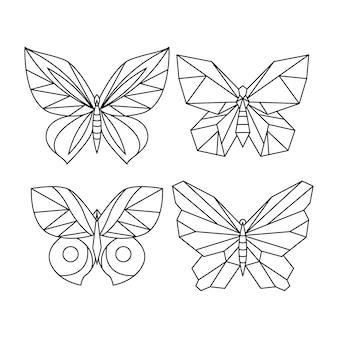 Contorno de borboleta com coleção de detalhes planos lineares