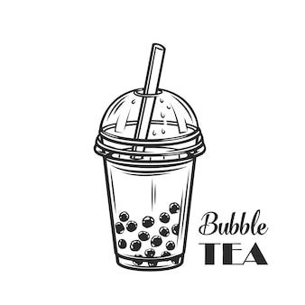 Contorno de chá com leite bolha