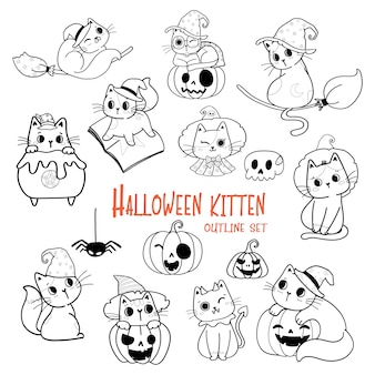 Contorno de desenho animado de gato fofo do dia das bruxas conjunto de vetores para livro de colorir