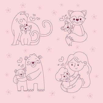 Contorno de desenhos mães