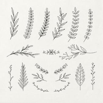 Contorno de elementos decorativos florais desenhados à mão