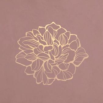 Contorno de flor dourada