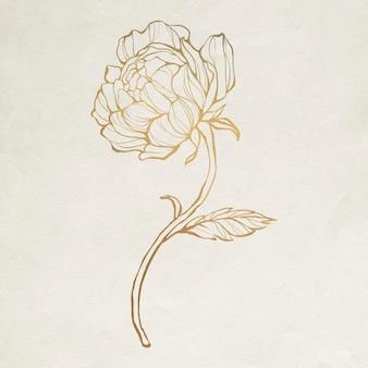 Contorno de flor dourada Vetor grátis