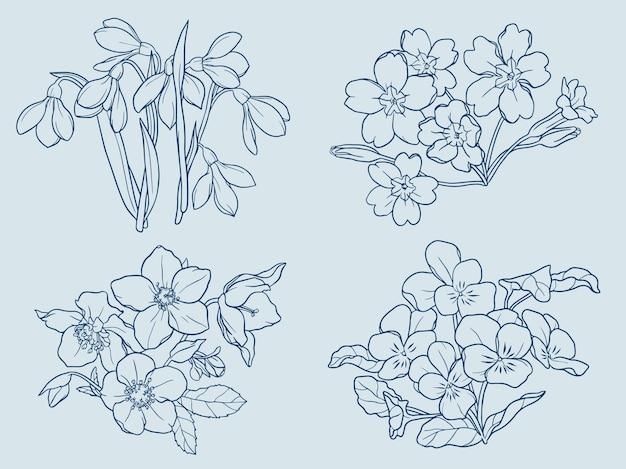Contorno de flores de inverno