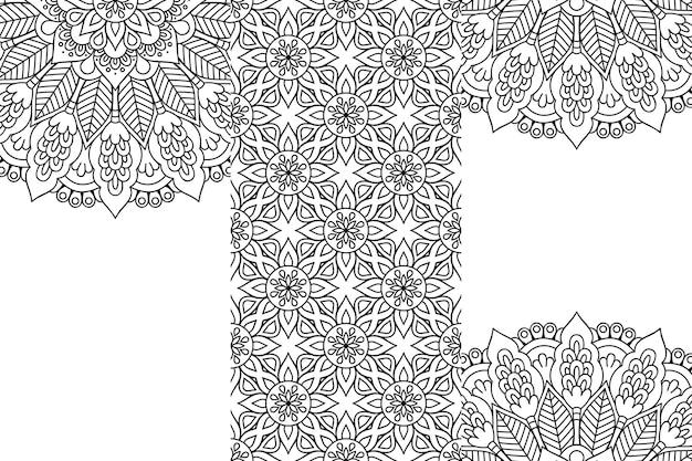 Contorno de fundo de desenho de mandala ornamental
