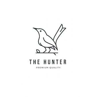 Contorno de logotipo pássaro isolado