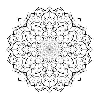 Contorno de mandala ornamental floral preto e branco de padrão circular para colorir páginas do livro