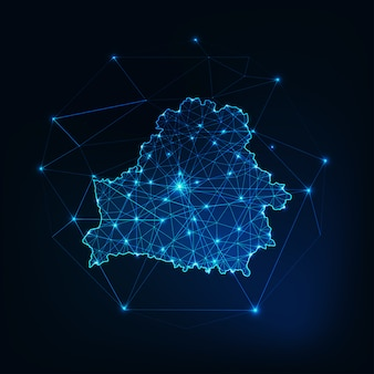 Contorno de mapa de rede brilhante de bielorrússia. comunicação, conceito de conexão.