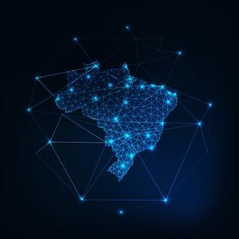 Contorno de mapa do brasil com estrelas e linhas de estrutura abstrata.
