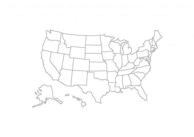 Contorno de mapa dos eua em fundo branco