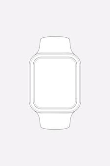 Contorno de smartwatch, ilustração vetorial de dispositivo de monitoramento de saúde