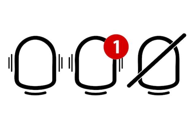 Contorno de vetor simples, ícone ou logotipo, sino, toque, alerta, notificação, isolado no branco