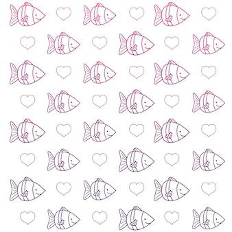 Contorno degradado peixe tropical animal e coração fundo