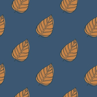 Contorno desenhada mão minimalista deixa padrão sem emenda. estampa de outono com figuras de folhagem laranja