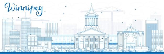 Contorno do horizonte de winnipeg com edifícios azuis