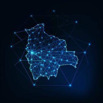 Contorno do mapa de bolívia com quadro abstrato de estrelas e linhas. comunicação, conceito de conexão.