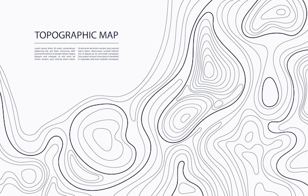 Contorno do mapa topográfico mapeamento geográfico natureza terreno relevo abstrato fundo
