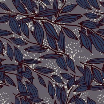 Contorno folhagem silhoettes padrão sem emenda. ornamento botânico azul marinho em fundo pálido com salpicos.