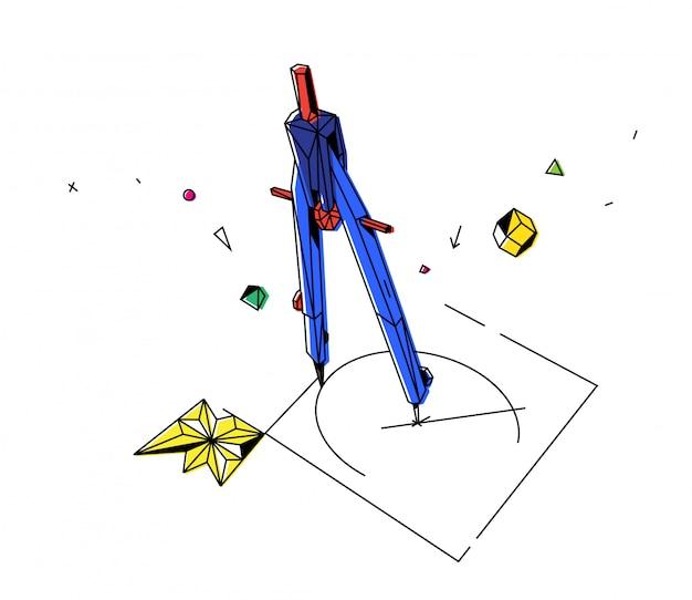 Contorno, ilustração, de, um, compasso, com, desenhos