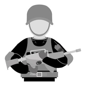 Contorno militar com sua arma e proteção de equipamentos