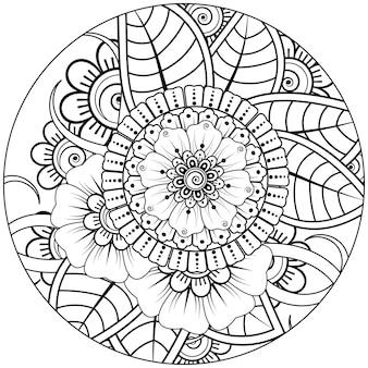 Contorno padrão de flor redondo em estilo mehndi para colorir livro de desenho ornamento de doodle em preto e branco ilustração de desenho a mão