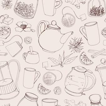 Contorno padrão sem costura com ferramentas desenhadas à mão para preparar e beber chá