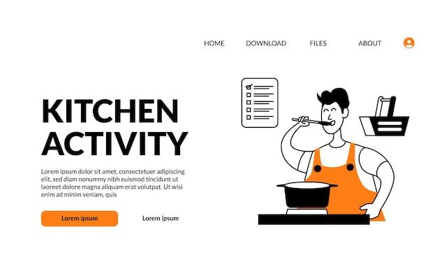 Contorno plano ilustração moderna cozinha atividade homem cozinhando e saboreando comida