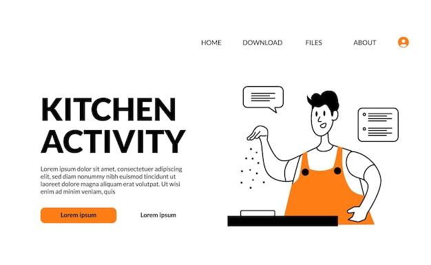 Contorno plano ilustração moderna cozinha atividade homem temperando com sal na comida após o cozimento para bom gosto